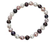 Stretch Multi Colour Pearl Bracelet with Link Balls