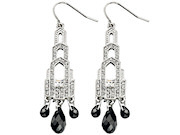 Fiorelli Clear Black Crystal Art Deco Earrings
