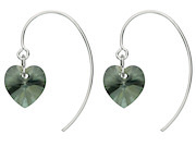 Grey Crystal Heart Drop Earrings