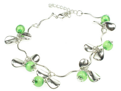 Green Beaded Petal Anklet