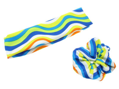 Blue Retro Striped Headband Set