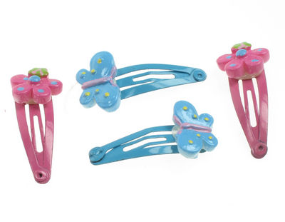 Mini Flower Butterfly Hair Clip Bendies - Fuchsia/Blue