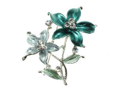 Aqua Double Flower Brooch