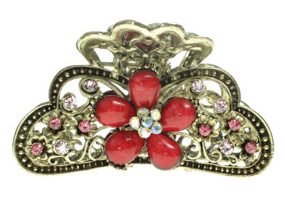 Red Vintage Daisy Hair Clamp Clip