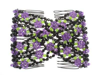 Purple Floral Double Hair Comb