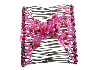 Fuchsia Beaded Twist Double Hair Comb