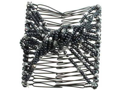Charcoal Beaded Twist Double Hair Comb