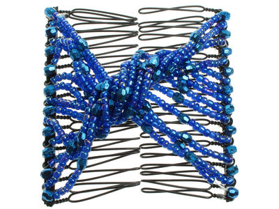 Blue Beaded Twist Double Hair Comb