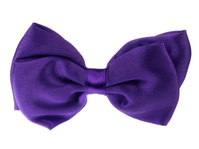Purple Satin Bow Hair Clamp Clip