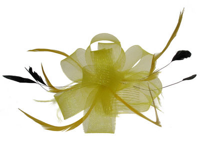 Yellow Neon Looped Bow and Feather Fascinator