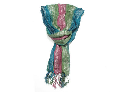 Green Stripe Glitter Pattern Fashion Scarf Wrap