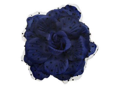 Navy Polka Dot Rose Clip/Corsage