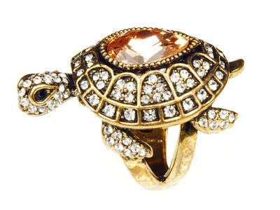 Crystal Turtle Cocktail Ring