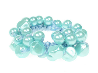 Aqua Blue Pearlised Beaded Scrunchie