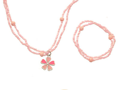 Girls Pink Flower Jewellery Set