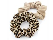 Two Pack Brown Animal Print Hair Scrunchie Bobbles