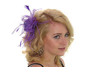 Amethyst Purple Feather Flower Fascinator