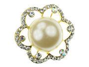 Gilt Large Pearl Sparkle Brooch