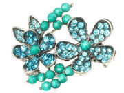Turquoise Crystal Flower Side Clamp