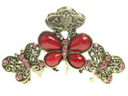 Red Vintage Butterfly Hair Clamp Clip
