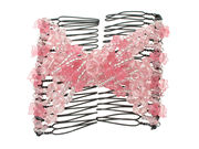 Pink Flower Bead Double Hair Comb