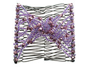 Mauve Beaded Twist Double Hair Comb
