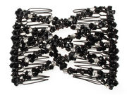 Black Crystal Sparkle Double Hair Comb