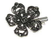 Charcoal Crystal Flower Hair Clamp
