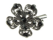 Black Crystal Flower Hair Clamp