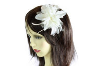 Cream Spotted Fascinator