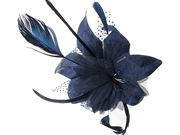Navy Blue Spotted Fascinator