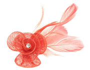 Coral Crystal Flower Fascinator Clip