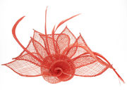 Deep Coral Coiled Flower Fascinator Clip
