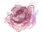 Lilac Glitter Rose Flower Ribbon Hair Clip Corsage