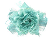 Aqua Lace And Ribbon Rose Hair Clip/Corsage