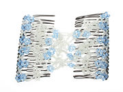 Blue Loop Beaded Double Hair Comb