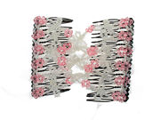 Pink Loop Beaded Double Hair Comb