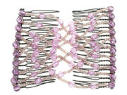 Lilac Criss Cross Beaded Double Hair Comb