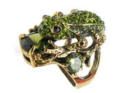 Crystal Frog Cocktail Ring