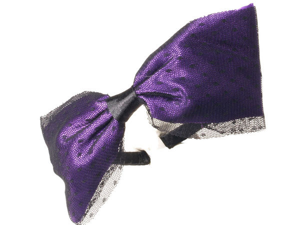 Large Purple Bow with Net Alice Band
