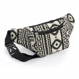 Black and Cream Abstract Design Bum Bag
