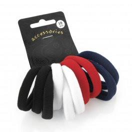 10 Black, White, Red & Navy Soft Endless Hair Bobbles