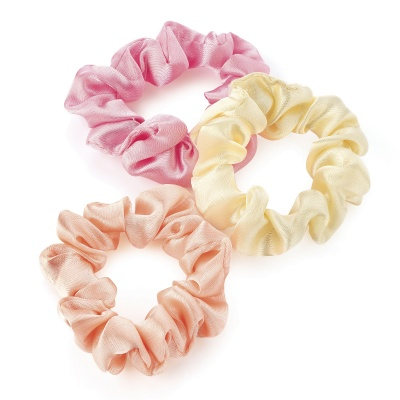 Three Piece Pink, Peach and Ivory Mini Elastic Scrunchie Set