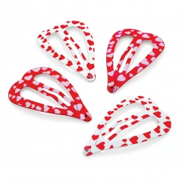 Four piece red and white tone heart print and shape snap hair clip set.