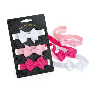 Three piece white, pink and fuchsia colour bow elasticated head wrap