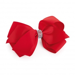 Large Red Crystal Bow Hair Clip
