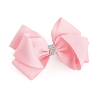 Large Pink Crystal Bow Hair Clip