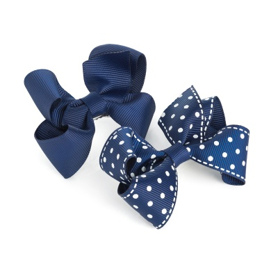 Two Navy Bow Polka Dot Hair Clips