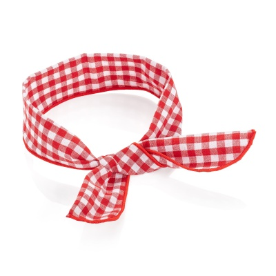 Red White Gingham Print Wired Bandeau Headband
