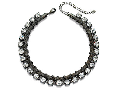Fiorelli Gun Metal Chain And Crystal Necklace